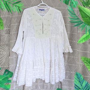 Leoni Al Sole White linen dress Embellished
